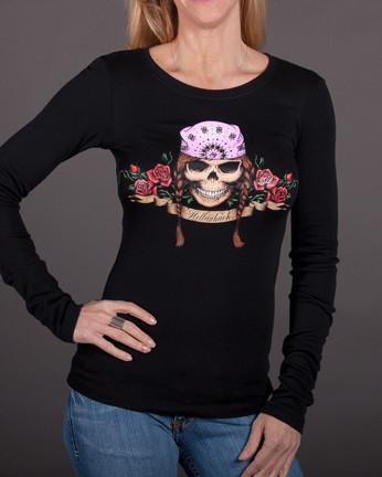 Womens Long Sleeve - Braids Long Sleeve Tee With Crystals