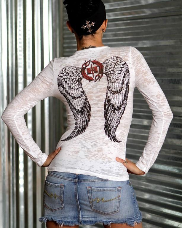 Womens LS Burnout - Angel Wings Long Sleeve Burnout