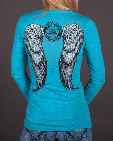 Image of Womens LS Burnout - Angel Wings Long Sleeve Burnout