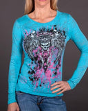 Womens LS Burnout - Queen Long Sleeve Burnout T