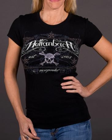 Image of Womens T-Shirt - Crystal Skull Tombstone On Bella Tee