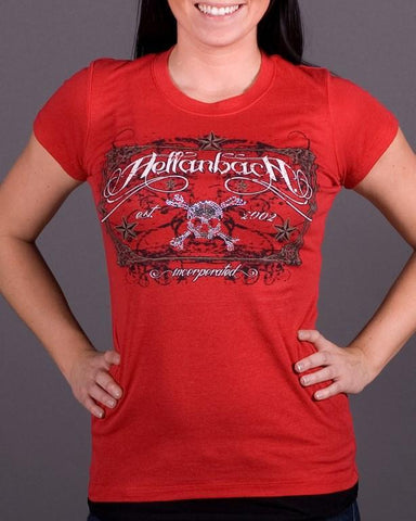 Womens T-Shirt - Crystal Skull Tombstone On Bella Tee