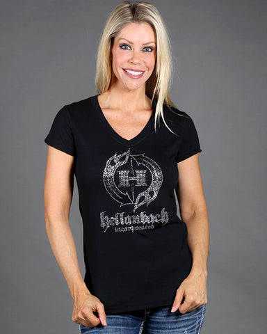 Image of Womens T-Shirt - HB Crystal Logo On Bella V-Neck