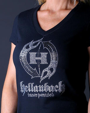 HB Crystal Logo on Bella V-Neck