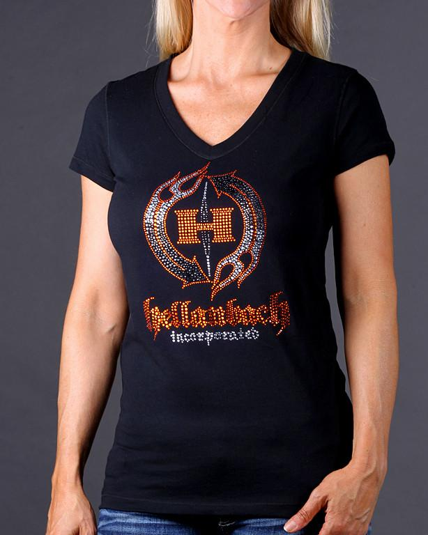 Womens T-Shirt - HB Crystal Logo On Bella V-Neck