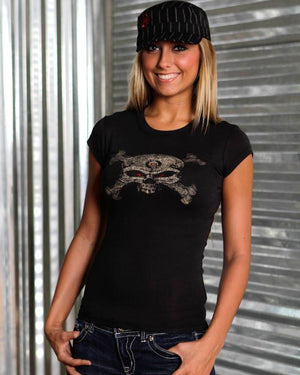 Womens T-Shirt - HB Skull & Crossbones Bella Tee With Crystals