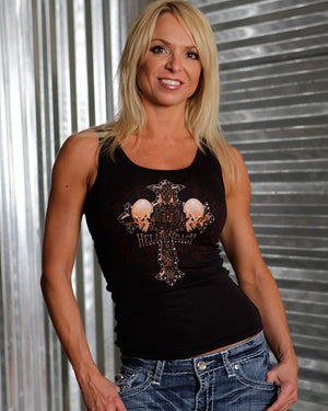 Womens Tank - Celtic Cross With Crystals On Bella Tank Top