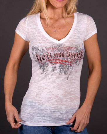 Womens V-Neck Burnout - Angel Wings V-Neck Burnout