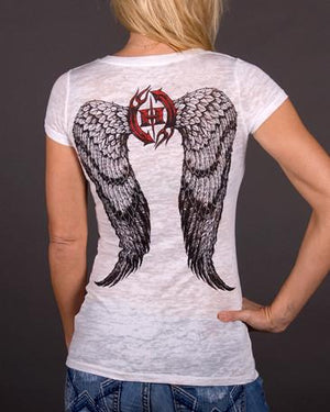 Angel Wings V-Neck Burnout