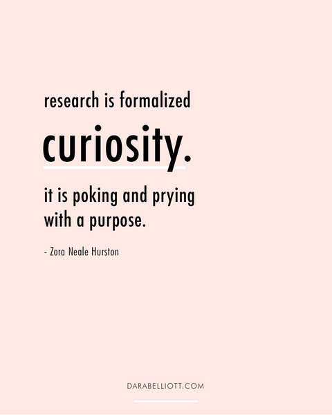 Research is formalized curiosity. It is poking and prying with a purpose. - Zora Neale Hurston | darabelliott.com