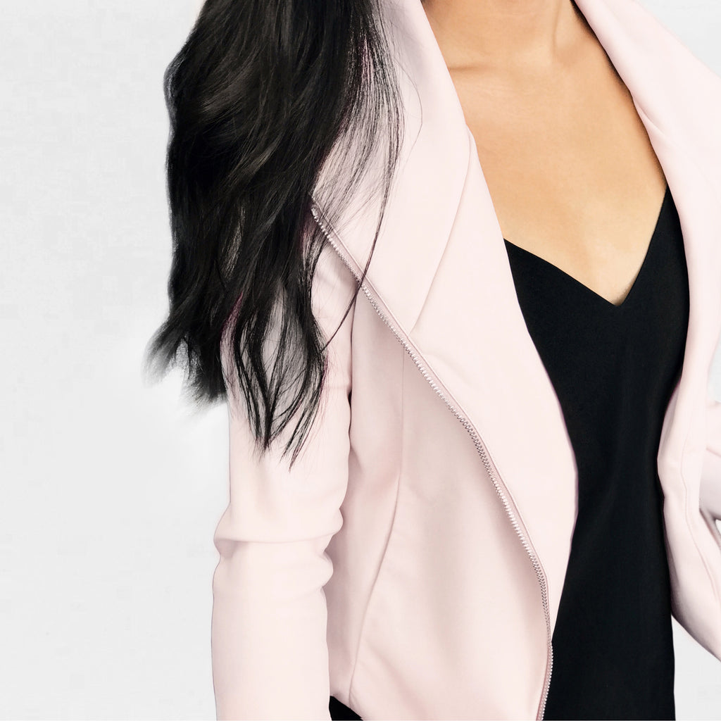 Millennial blush pink leather moto jacket, the ultimate 'it girl' wardrobe staple