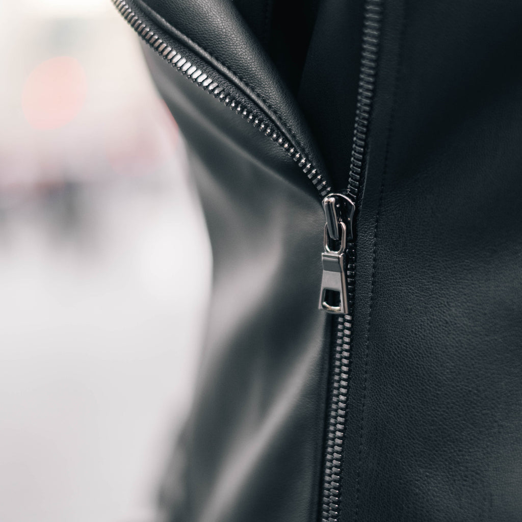 High quality gunmetal zipper is essential to crafting the perfect moto leather jacket