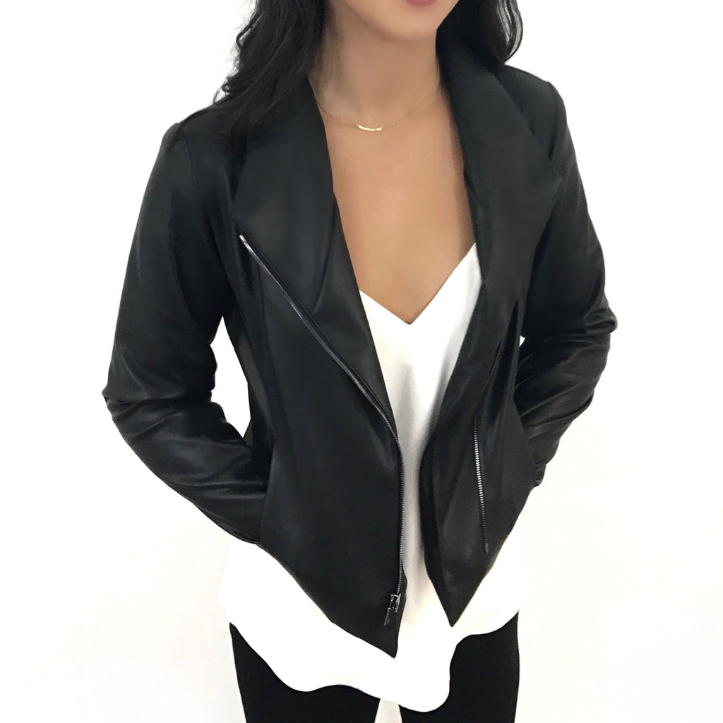 Do Anything Jacket by Brevity Brand | moto jacket designed to fit and flatter, made with engineered alternative vegan leather, minimalist modern design