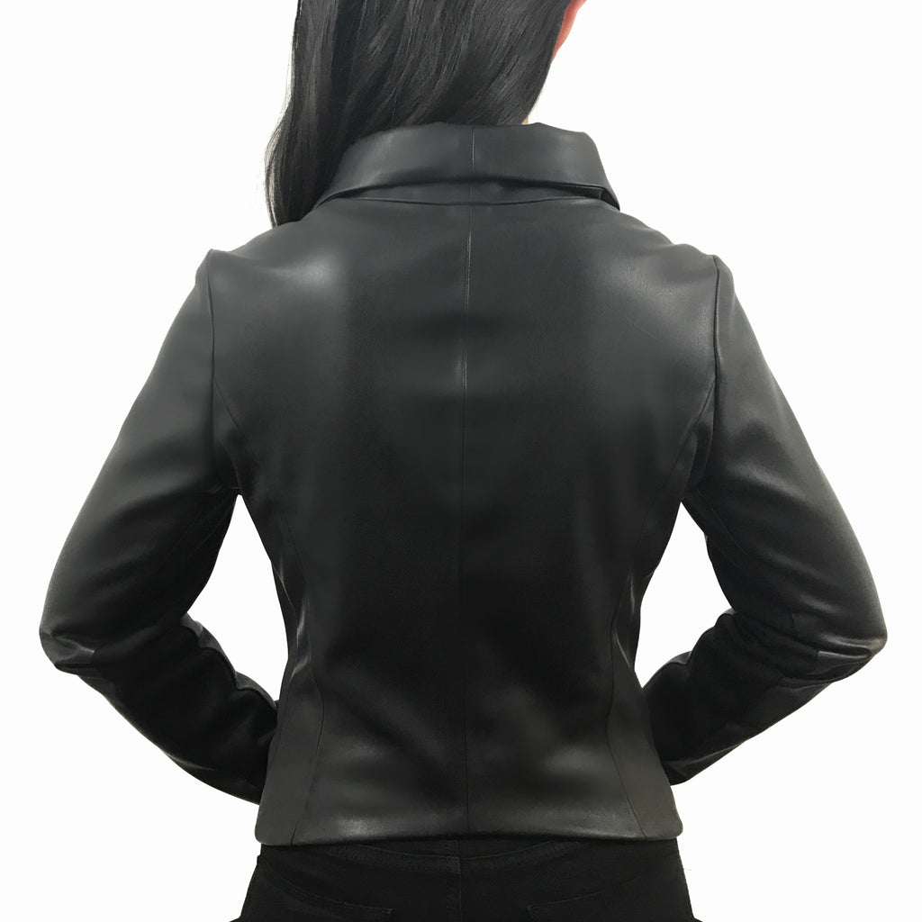 Do Anything Jacket by Brevity Brand | moto jacket designed to fit and flatter, princess seam details, made with engineered alternative vegan leather, minimalist modern design