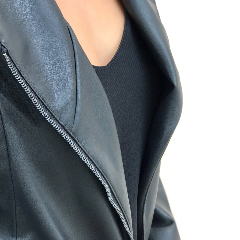 Durable vegan leather jacket with beautiful grain lines and buttery soft quality