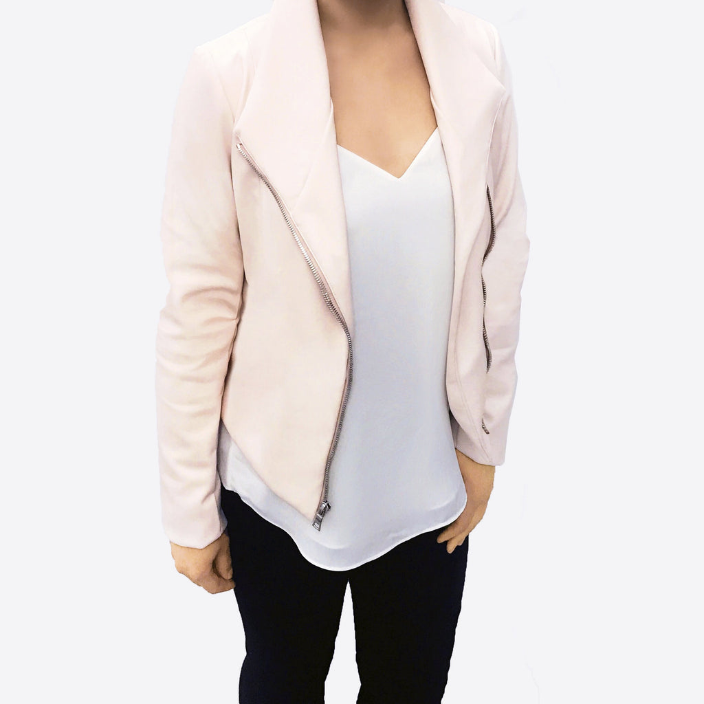 This 'it' brand nailed the perfect shade of millennial pink, blush moto jacket