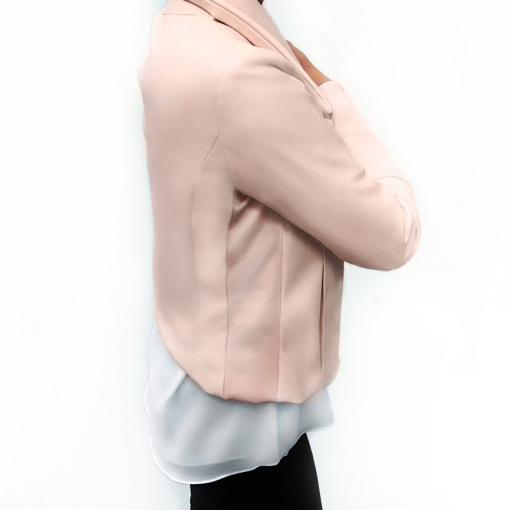 Your favorite blush pink moto jacket is made with 4-way stretch