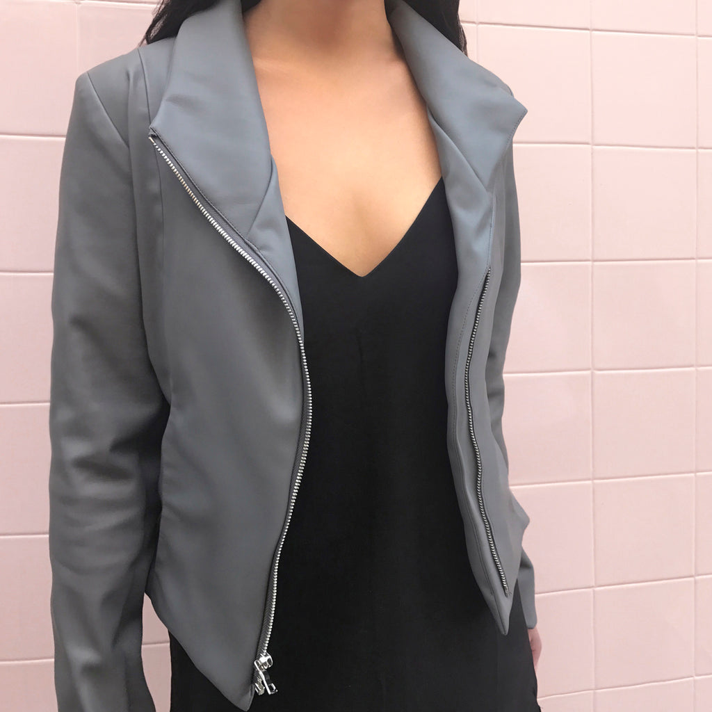 Essential grey moto leather jacket, build the perfect minimalist wardrobe