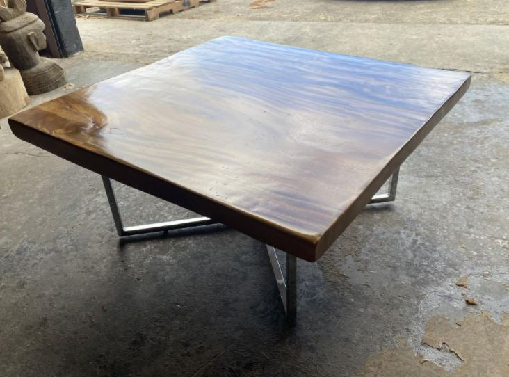 Square Slab Wood Coffee Table