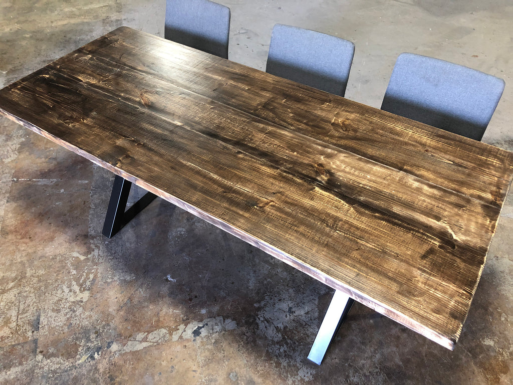 Reclaimed Wood & Metal Dining Table