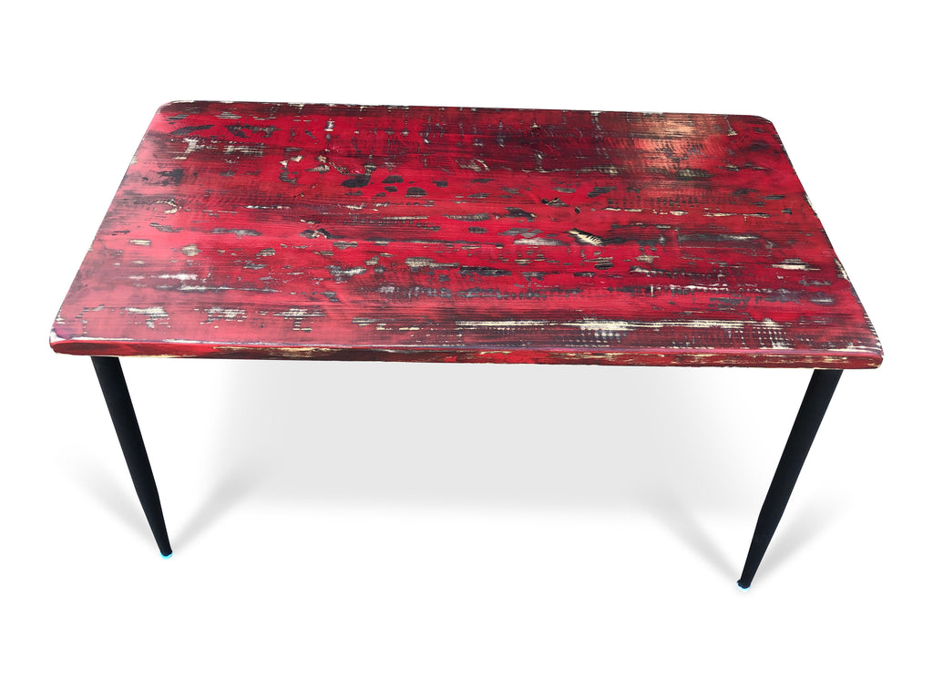 UMBUZÖ Antique Red Distressed Wood Desk