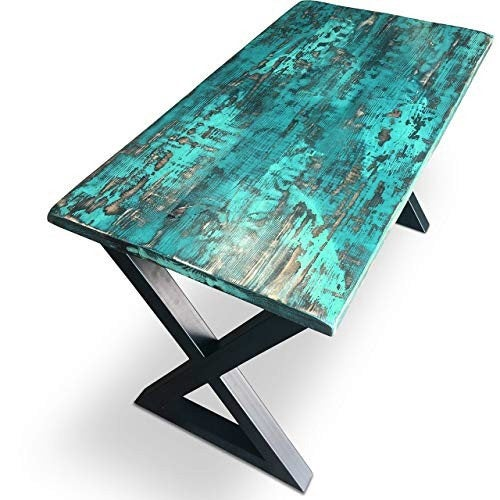 SALE!  Distressed Wood Desk in teal and shades of green