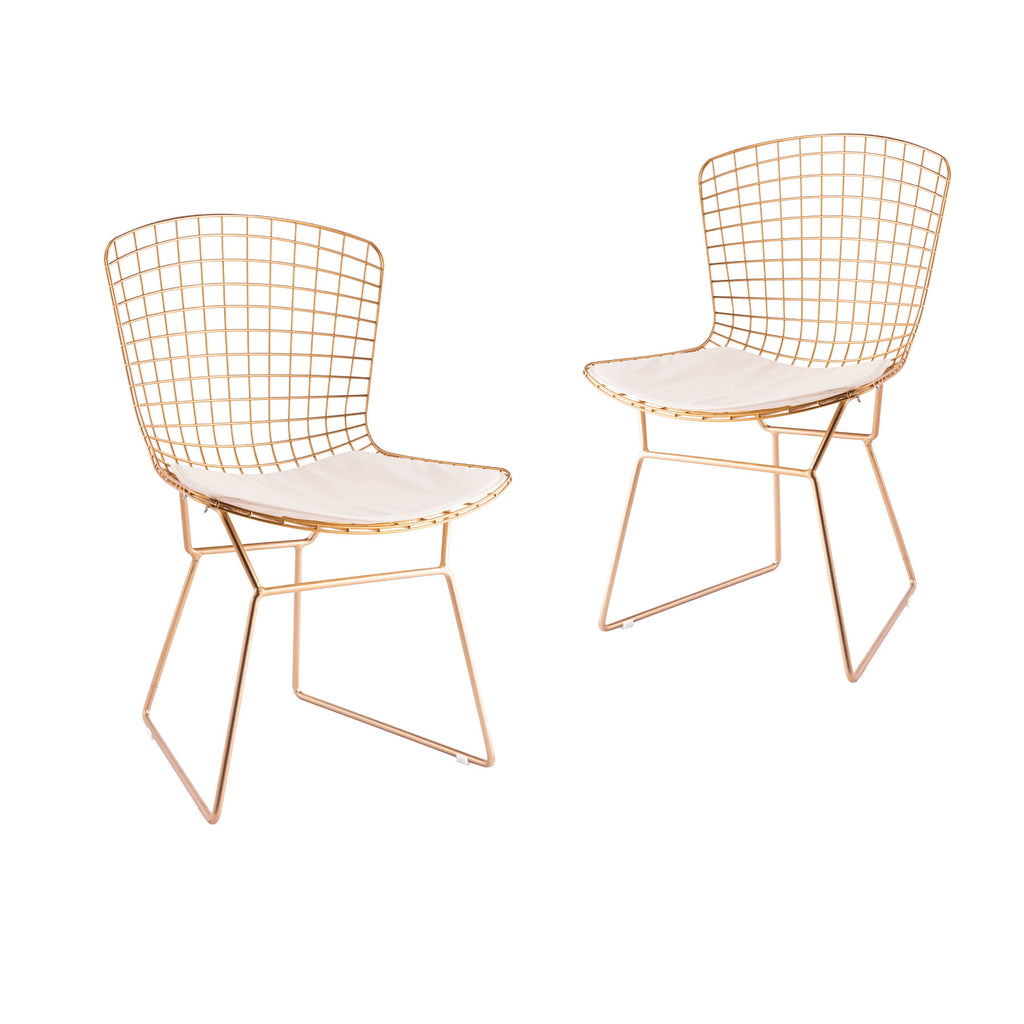 UMBUZÖ Modern Gold Wire Chair - Set of 2