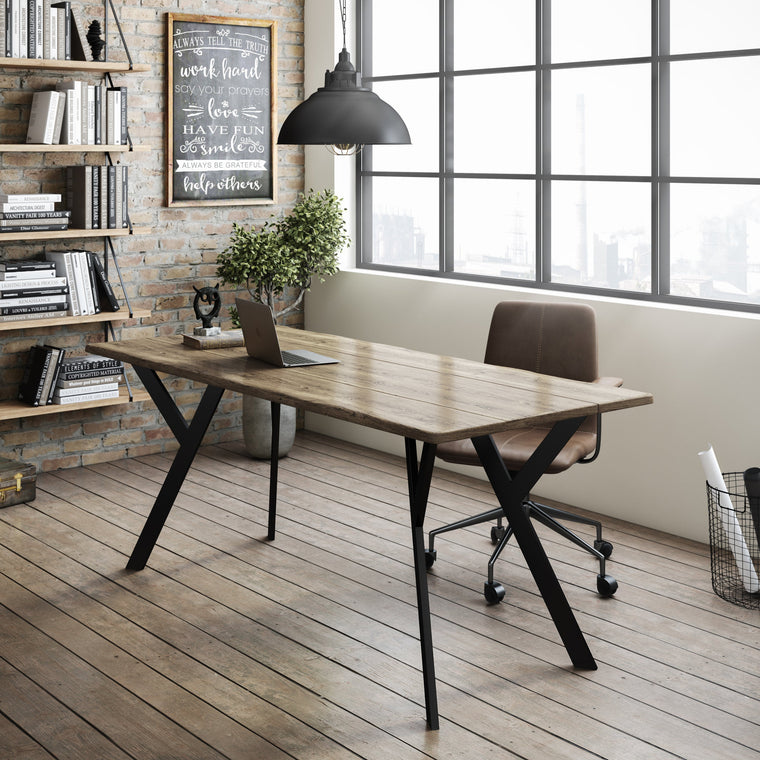 Desk - Reclaimed Industrial Office Desk, Wood Desk