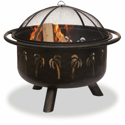 Bronze Palm Tree Fire Bowl - The Fire Pitz