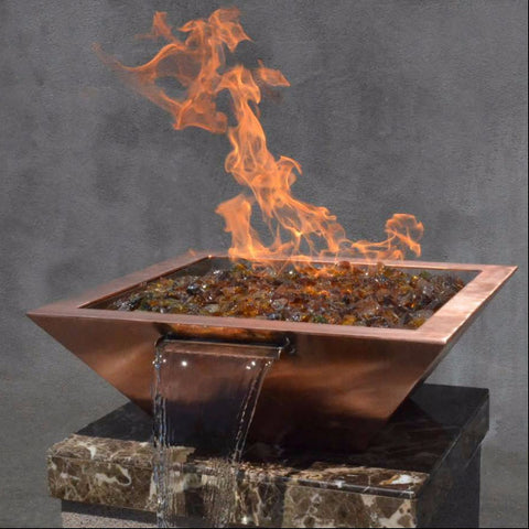 "30"" Copper Square Fire & Water Pot - The Fire Pitz"