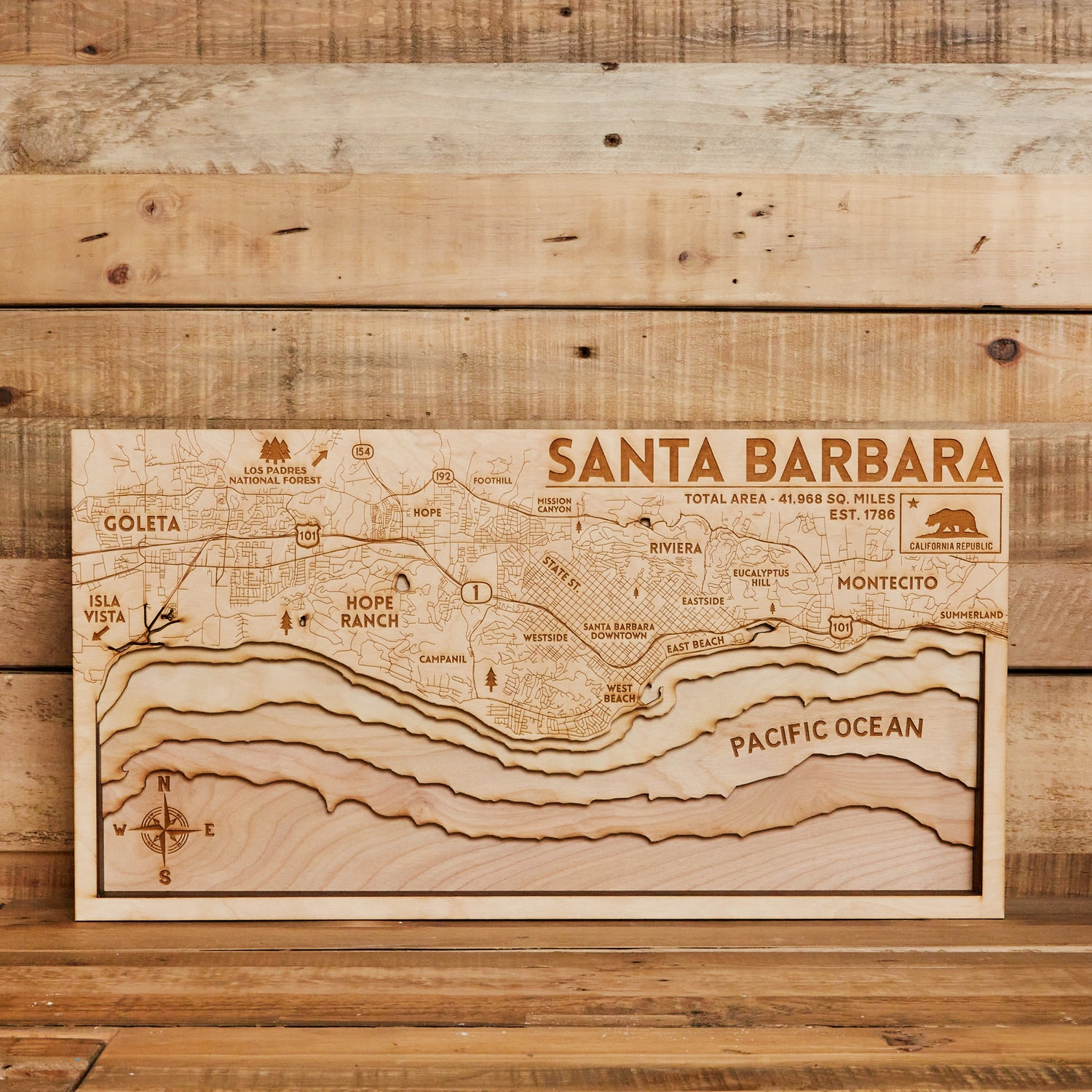 3D Map of Santa Barbara 8x15