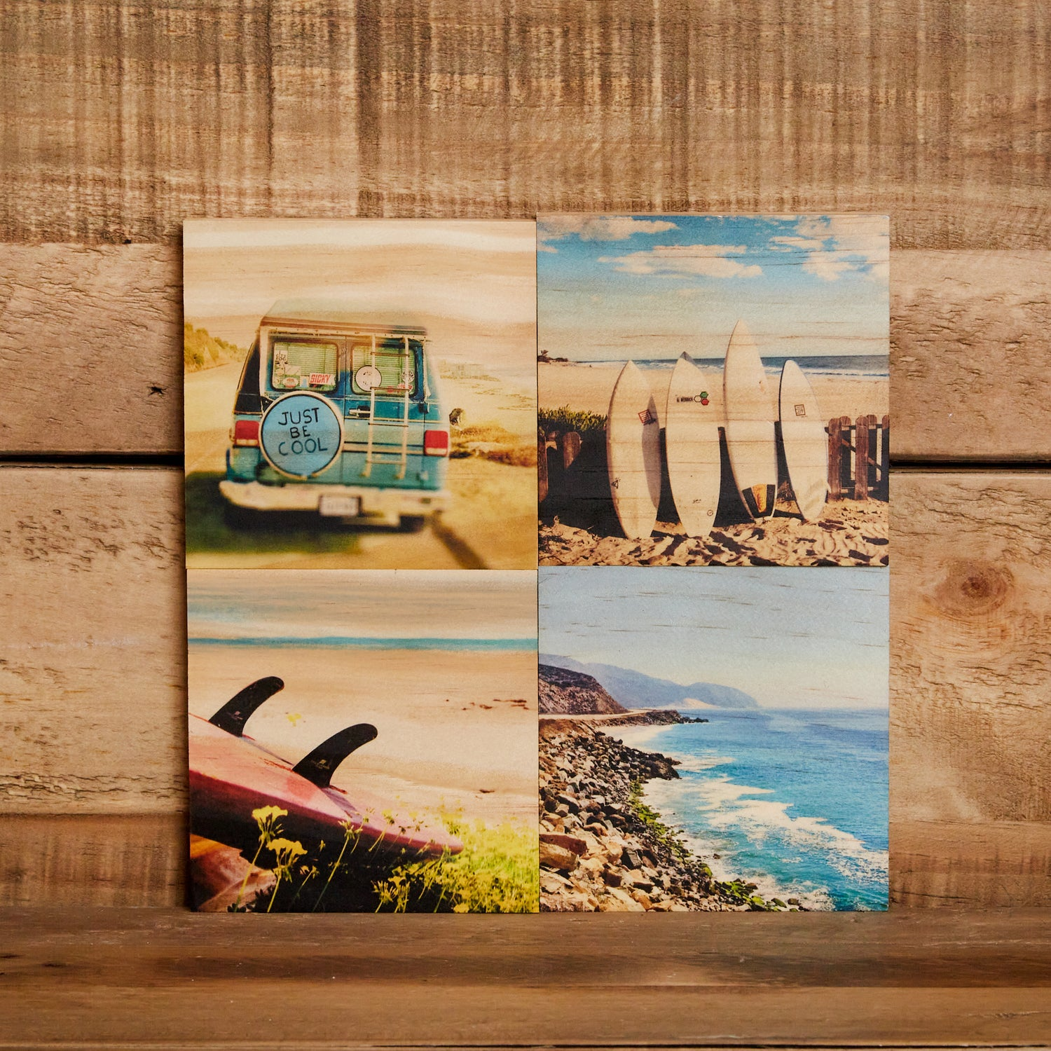 Wood Coaster Set/4, Surf