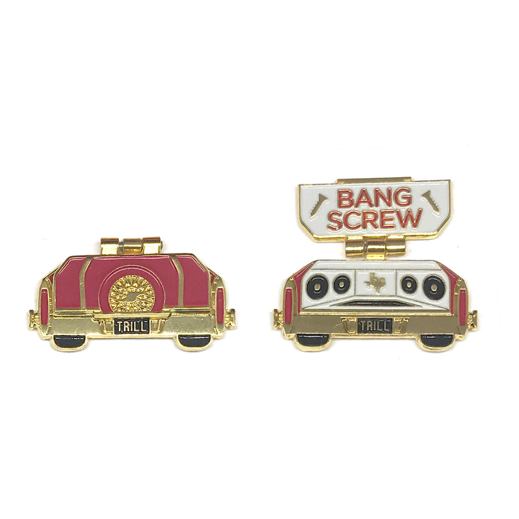 "Candy Coated Slab Pin - ""Bang Screw"" Wineberry/Gold"
