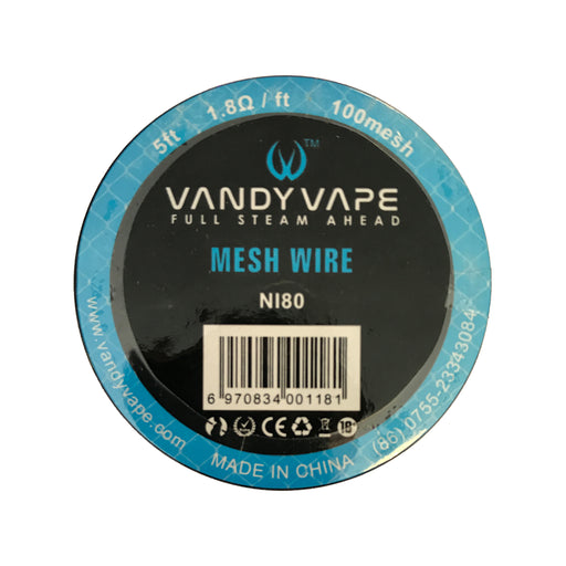 Vandy Vape 100 Mesh Wire Nichrome Ni80 1.8 Ohm 5ft