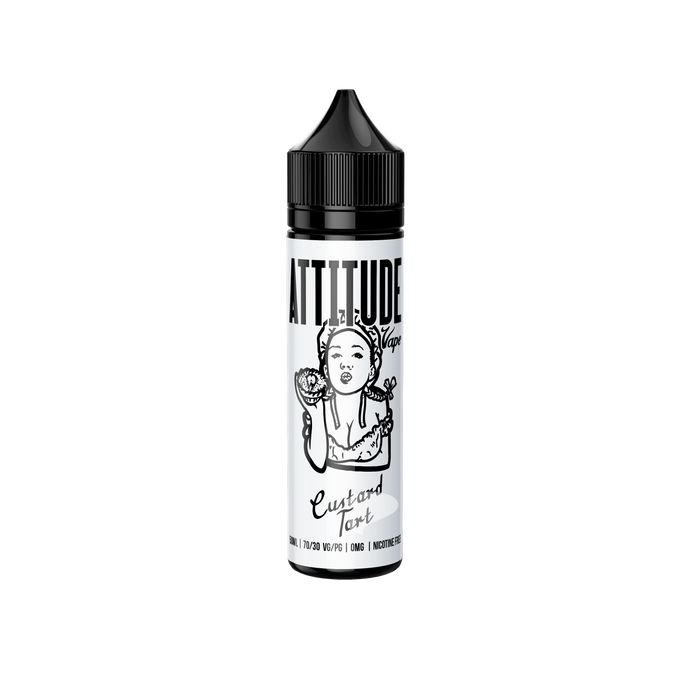 50ml Zero Nicotine Bottle of Custard Tart E-liquid by Attitude Vape