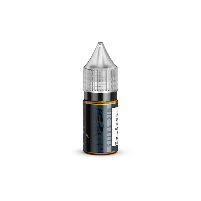 A 10ml bottle of Black Jacked E-liquid by Ohm Brew with Nic Salts