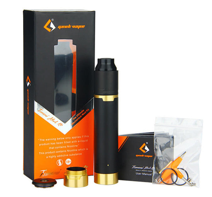 Geekvape Tsunami Gold Plated Mech Kit Box Contents