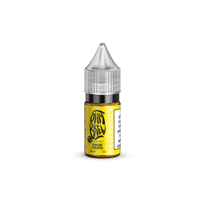 A 10ml bottle of Punchin Pineapple E-liquid by Ohm Brew with Nic Salts