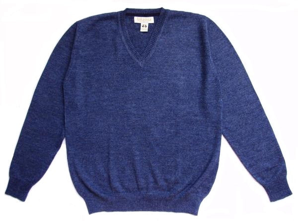 Plain Knit V-Neck Alpaca Sweater - Denim Blue