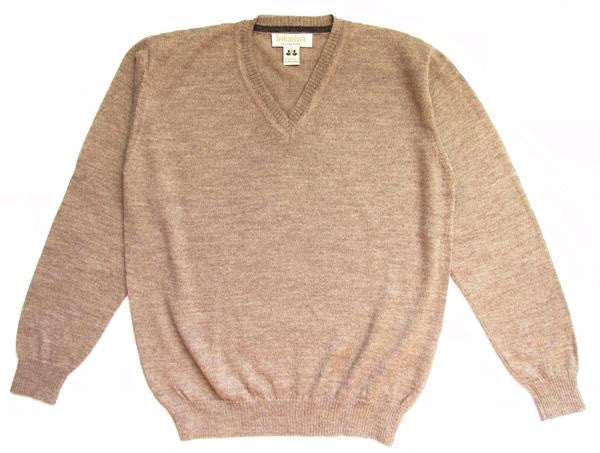 Plain Knit V-Neck Alpaca Sweater - Camel