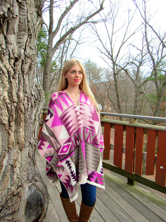 100% Fine Alpaca - Incan Pattern Ruana - Light Pink / Purple
