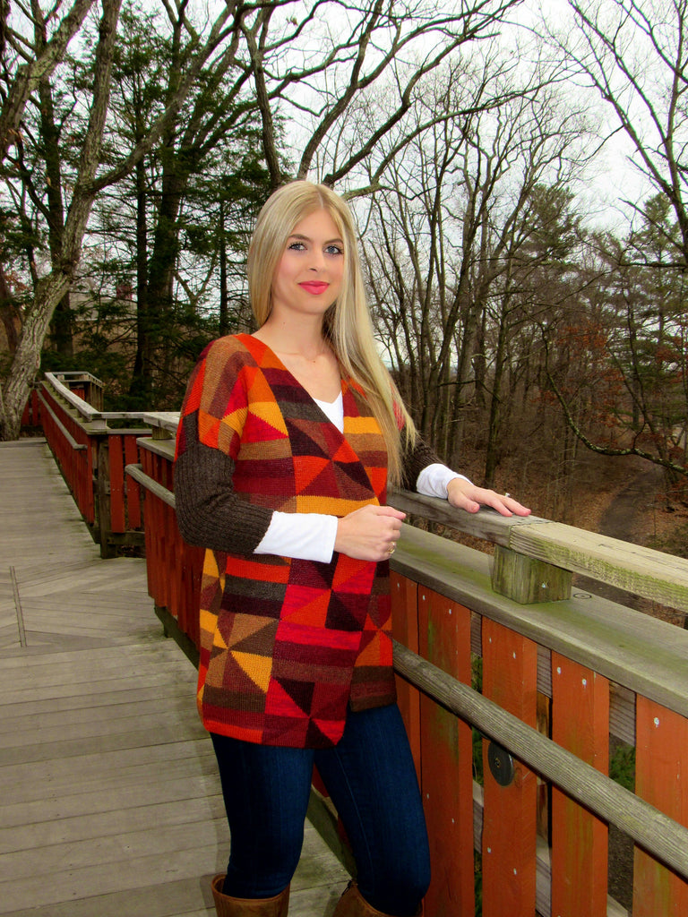 100% Fine Alpaca - Sunset Pattern Cardigan - Multicolor