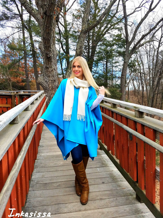 100% Baby Alpaca Poncho - Light Blue