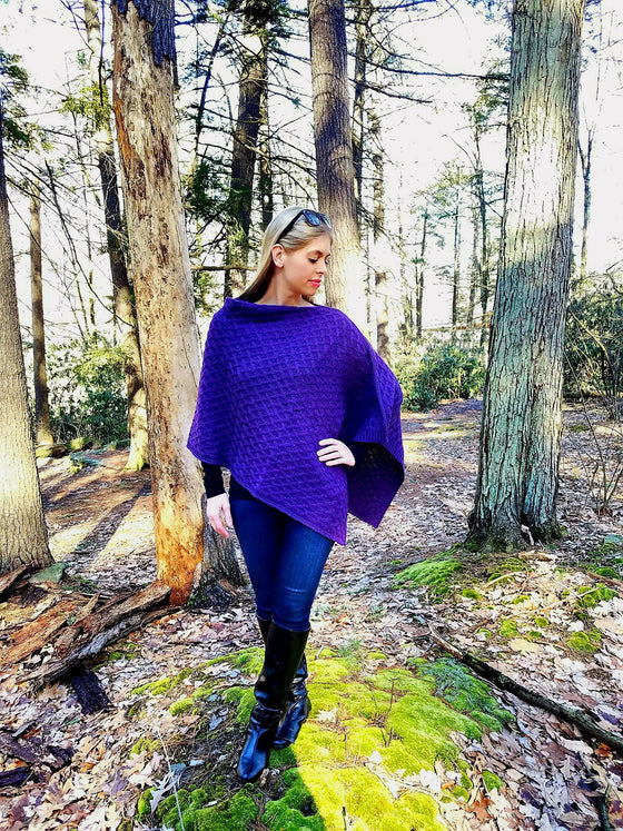 100% Baby Alpaca Cabled Poncho - Dark Purple