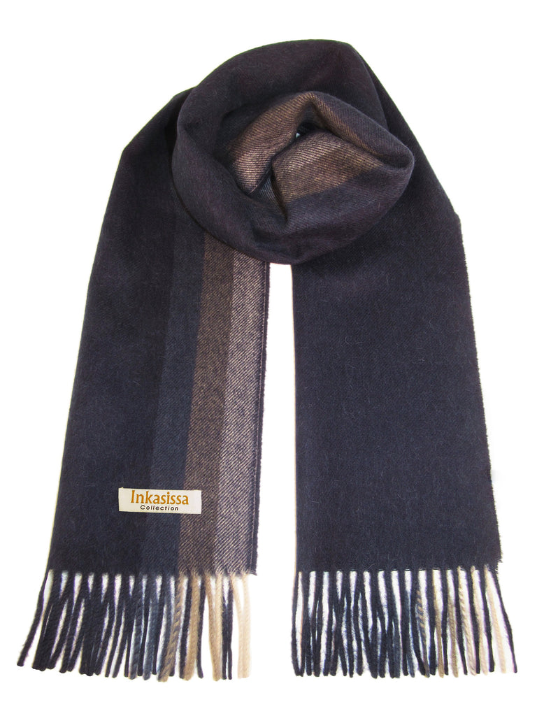 100% Baby Alpaca Brushed Scarf - Blue