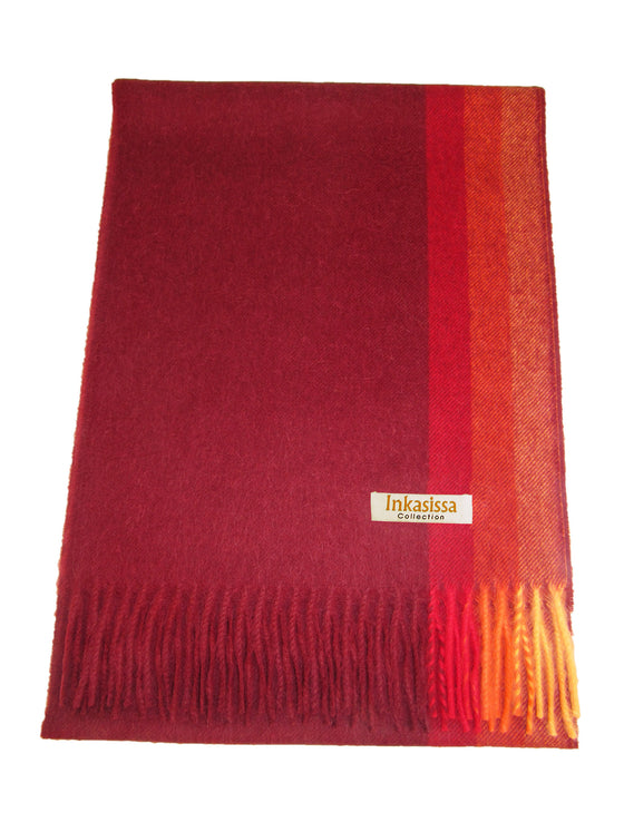 100% Baby Alpaca Brushed Scarf - Cherry Red