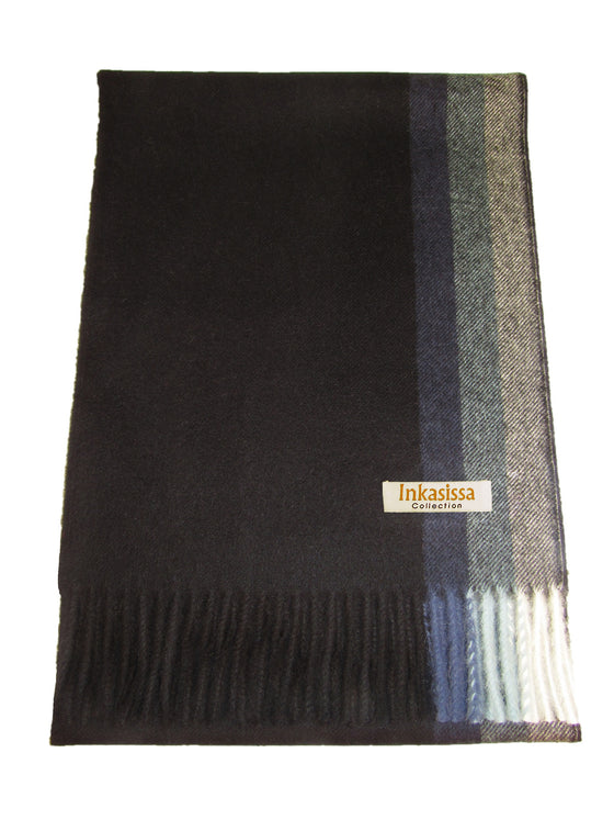 100% Baby Alpaca Brushed Scarf - Black