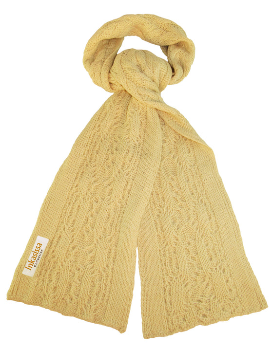 100% Baby Alpaca Chunky Cable Hand Knit Scarf - Ecru