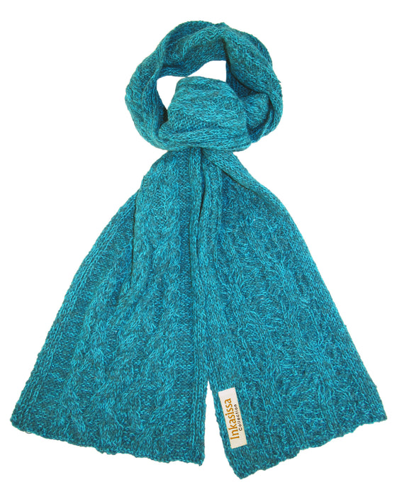 100% Baby Alpaca Chunky Cable Hand Knit Scarf - Teal