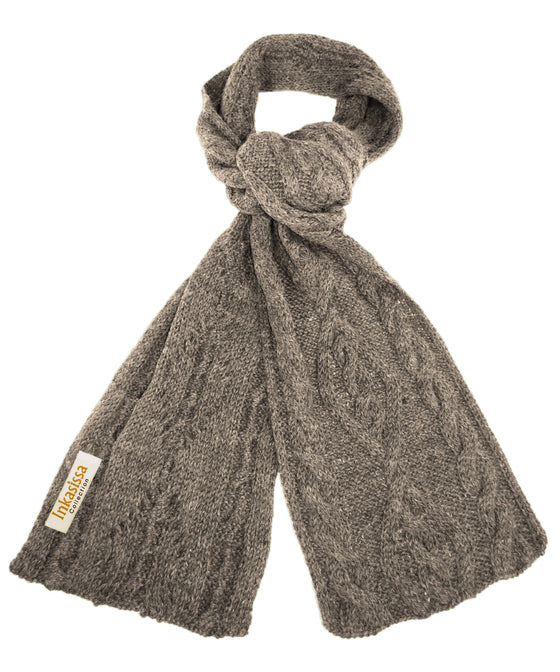 100% Baby Alpaca Chunky Cable Hand Knit Scarf - Grey